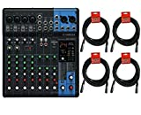 Yamaha MG10XU 10 Channel Mixer w/FX + 4x 20ft Microphone XLR...