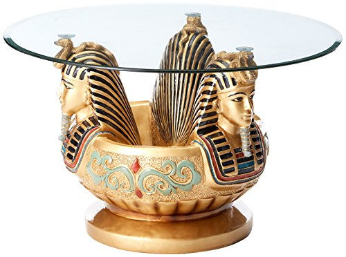 Design Toscano Three Heads of Tutankhamen Sculptural Glass Topped Table in Faux Gold (Thick Glass 0.375')