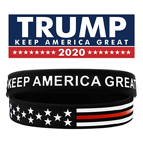 Sainstone Keep America Great Donald Trump for President 2020 Silicone Bracelets - Inspirational Motivational Wristbands - Adults Unisex Gifts for Teens Men Women