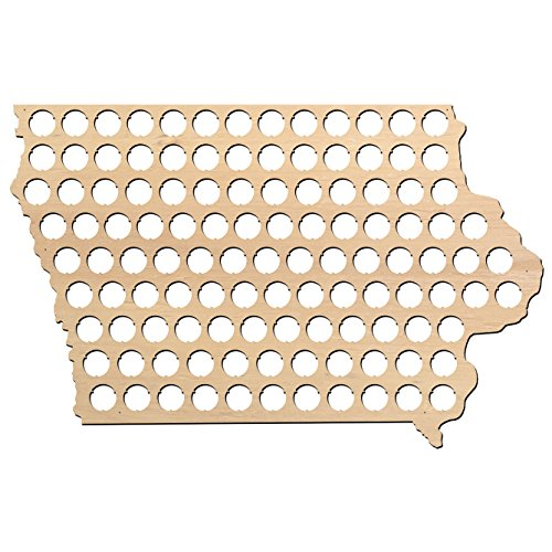 Iowa Beer Cap Map - 23x14.8 inches - 106 caps - Beer Cap Holder Iowa - Birch Plywood - Large Size
