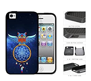Blue Owl Dream Catcher with Space Background 2-Piece High Impact Dual Layer Black Silicone Cell Phone Case iPhone 4 4s