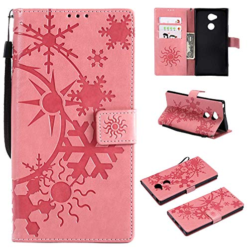 Price comparison product image CUSKING Sony Xperia XA2 Leather Wallet Case with Card Holder and Stand Function,  Magnetic Flip Folio Slime Protective Cover for Sony Xperia XA2 - Pink