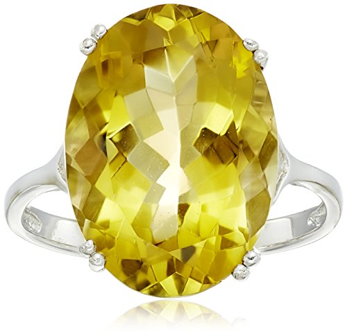 Sterling Silver 18x13mm Oval Citrine Ring, Size ()