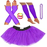 REDSTAR FANCY DRESS Neon Tutu Skirt Leg Warmers Fishnet Gloves Necklace Beads and Neon Wrist Beads (14-22 UK, Purple)