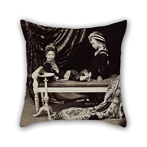 [Bestseason Oil Painting Dr Ernst Becker - Prince Arthur And Prince Alfred In The Costume Of Sikh Princes, Osborne Cushion Cases 18 X 18 Inches / 45 By 45 Cm For Lover Home Office Kids Girls] (King Triton Costume Ideas)