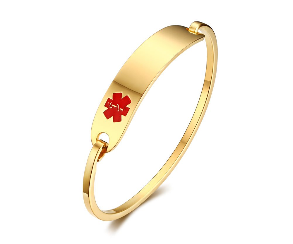 (Free Engraving) Stainless Steel Medical Alert ID Bangle Bracelet,Gold Plated,8