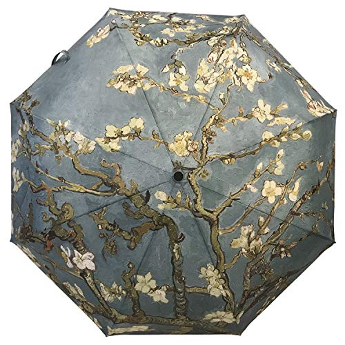 (Unica Automatic Umbrella Apricot Flowers Blossom by Vincent Van Gogh Compact Travel Windproof Rainproof Foldable Umbrella)