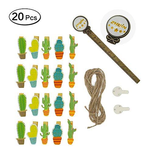 Zhi Jin 20pcs/Set Cute Wooden Clip Pegs Clothespins for Photo Album Postcard Note Paper Decor Clamp with Rope and 2Pcs Non-Trace Hooks (20Pcs Cactus)