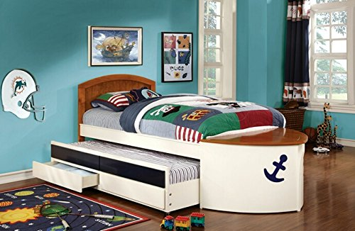 Voyager nautical boat design white and oak with navy blue accents finish wood twin size bed with trundle and drawers White Finish Trundle