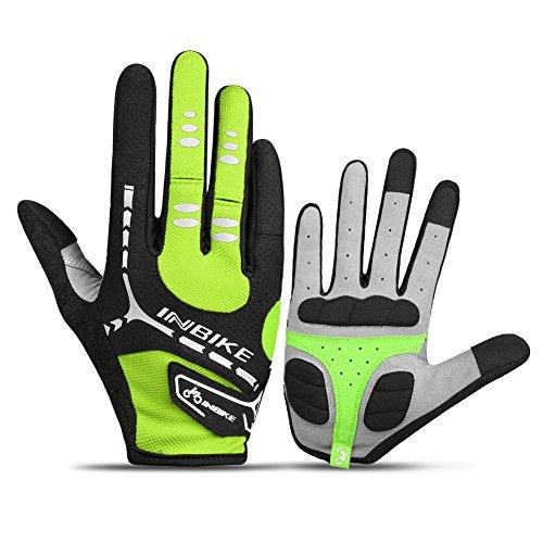 INBIKE Bicycle Gloves, Winter Touch Screen Full Finger Mountain Bike Gloves Men Gel Pad Green X-Large