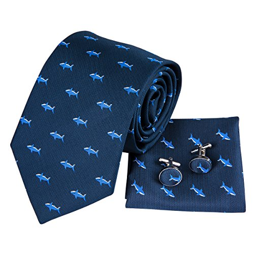 Hi-Tie Navy Blue Dolphin Pattern Tie Necktie with Cufflinks and Pocket Square Tie Set