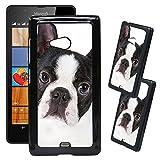 [TeleSkins] - Microsoft Lumia 540 Designer Plastic Case - Cute Boston Terrier Dog Portrait - Ultra Durable HARD PLASTIC Protective Snap On Back Case / Cover for Microsoft Lumia 540.