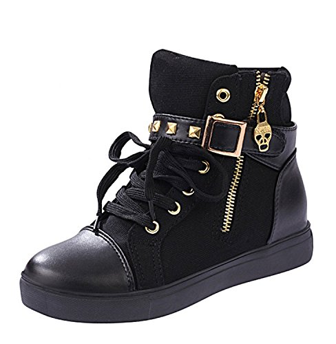 Maybest Women's Autumn Rivets High-top Casual Canvas Shoes Black 7 B(M) US