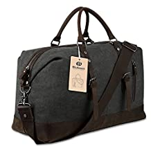 Travel Duffel Bag Tote Canvas Leather (Black)