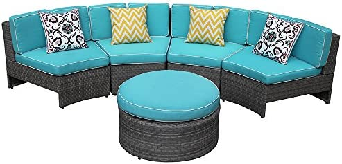 Amazon.com : PATIORAMA 5 Piece Outdoor Half Moon Curved Sectional Furniture  Set Grey Wicker With Blue Cushions, 4 Single Chairs And Otttoman : Garden U0026  ...