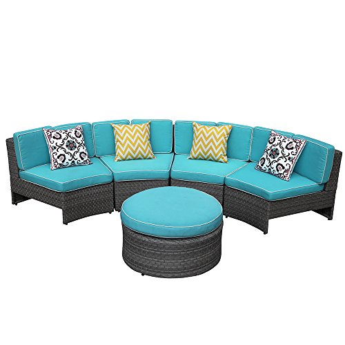 PATIORAMA 5 Piece Outdoor Half-Moon Curved Sectional Furniture Set Grey Wicker with Blue Cushions,4 Single Chairs and Otttoman