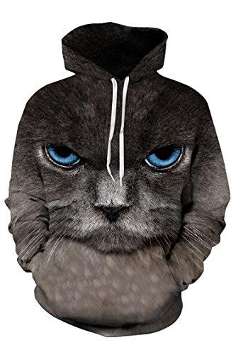 Timemory Unisex Angry Cat Printed Pockets Hoodie Sweatshirt L Print #27 (Santa Hoodie)