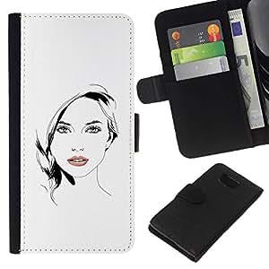 All Phone Most Case / Oferta Especial Cáscara Funda de cuero Monedero Cubierta de proteccion Caso / Wallet Case for Samsung ALPHA G850 // Beautiful Woman Girl Lips White Black