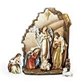 Roman - 7PC ST 13''NATIVITY W/BACK WALL & STAR;ANGEL;SHEPHERD;2SHEEP