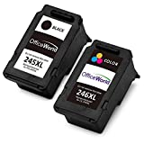 Office World Remanufactured Ink Cartridge Replacement for Canon PG-245XL 245 XL CL-246XL 246 XL (1 Black + 1 Tri-Color),Work with Canon PIXMA MX492 MG2920 MG2520 iP2820 MG2922 MG2420 MG2522 MG2924