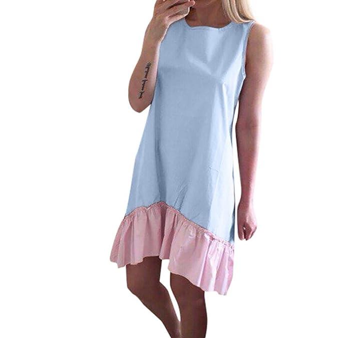 Lenfesh Ocasional Vestidos de Mujer Sin mangas Mini Vestidos Corto de Playa Camisas Del Dobladillo VolantesVerano 2018: Amazon.es: Ropa y accesorios