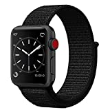 Uitee Smart Watch Band Dark Black Sport Loop, Uitee Newest Woven Nylon Band For Apple Watch Series 42Mm 3/2/1, Comfortably Light with Fabric Like Feel Wrist Strap Replacement with Classic Buckle
