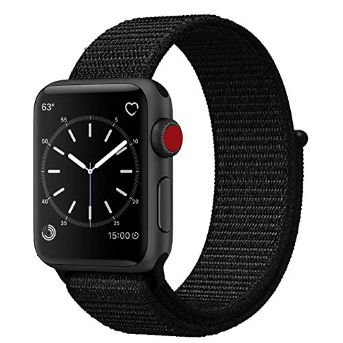 Smart Watch Band Dark Black Sport Loop, Uitee Newest Woven Nylon Band for Apple Watch Series 42mm 3/2/1, Comfortably Light With Fabric-Like Feel Wrist Strap Replacement with Classic Buckle (Band Series)