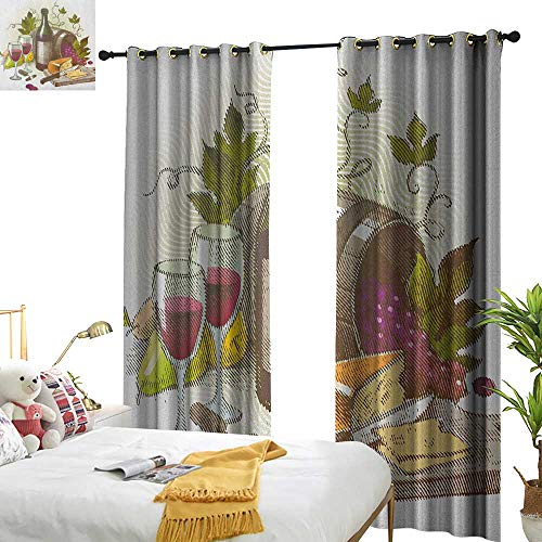 Littletonhome Blackout Curtains Wine Vintage Style Composition with Wine and Cheese Fruits Gourmet Taste Beverage and Food Home Garden Bedroom Outdoor Indoor Wall Decorations W120 x L84 Multicolor from Littletonhome