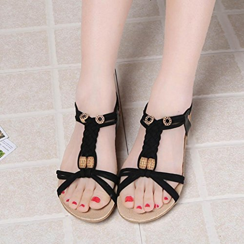 HLHN Women Woven Round Head Bead Flat Bohemia Boho Beach Elastic Sandals Shoes Black ZwafyU8Q