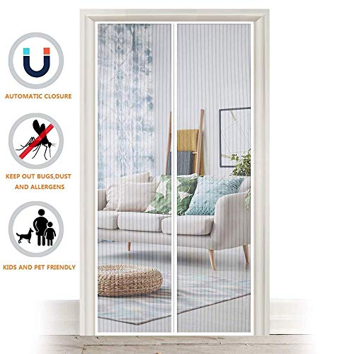 """Magnetic Fly Screen Door, Heavy Duty Bug Mesh Curtain with Powerful Magnets and Full Frame Magic Tape, Insect Protection Door No Gap, Keep Bugs Out Lets Fresh Air in, 35"""" x 82"""" (White)"""