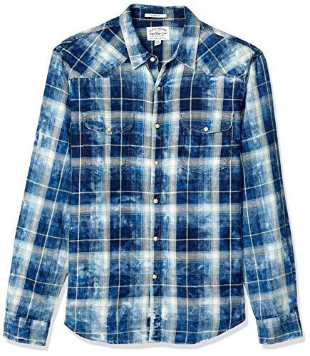 Lucky Brand Men's Long Sleeve Button UP Sugar Magic WASH Western Shirt, Blue Plaid, S (Brand Lucky Shirt Western)