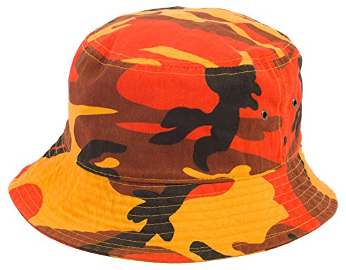 DRY77 Plain Solid Color Safari Sun Bucket Fishermen Fisherman Washed Cotton Hat, S/M, Orange Camouflage