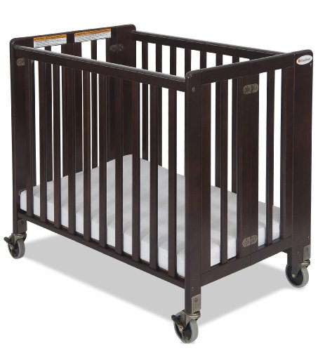 Foundations Hideaway Compact Sized Folding Crib, Antique Cherry