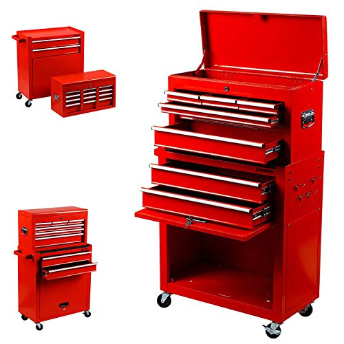 Drawer Portable Tool Box - 2 in 1 Portable Drawer Tool Box Locking Top Chest Cabinet Sliding Combined Storage Drawers Rolling Toolbox Organizer, Red