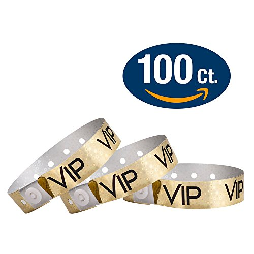 WristCo Holographic Gold VIP Plastic Wristbands - 100 Pack W