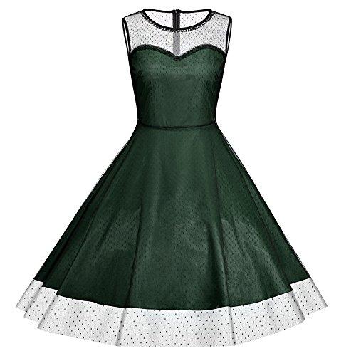 iShine Gran talla vestido retro de cintura del vestido de las mujeres Verde