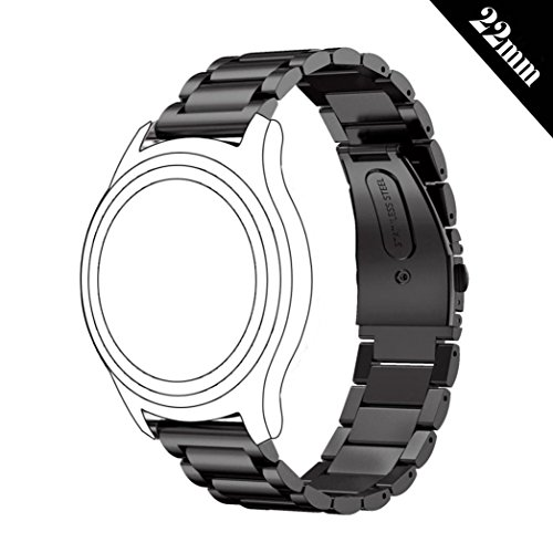 Antube 22mm Women Men Solid Stainless Steel Watch Band Replacement Bracelet Strap for Samsung Gear S3 Classic and Frontier, Huawei Watch 2 Classic, LG Watch, Urbane and R Smartwatch (Black)