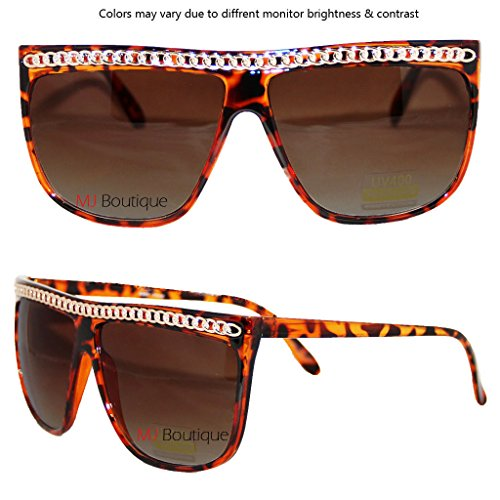 Brown Fat Top Chain Sunglasses Party Rock Lemo - Party Rock Sunglasses