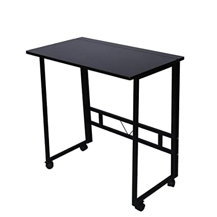 Charmant Folding Writing Table Rolling Laptop Notebook Computer Desk With Wheels  Poarmeey(black)