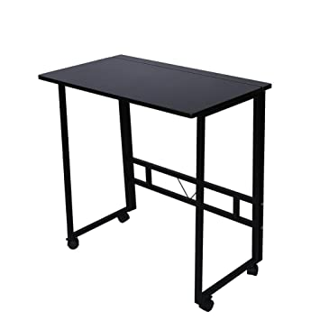 Amazing Amazon.com : Folding Writing Table Rolling Laptop Notebook Computer Desk  With Wheels Poarmeey(black) : Office Products