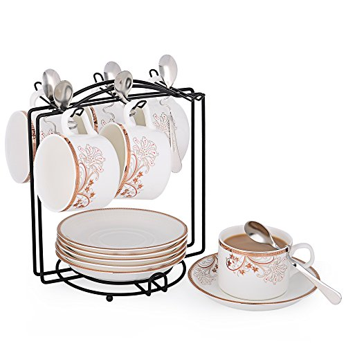 (Porcelain Tea Cup and Saucer Set Coffee Cup with Saucer and Spoon, Set of 6 (Morning Glory))