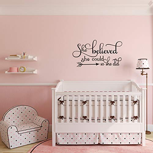 She Believed she Could so she did Wall Decal Home Decor Sayings Inspirational Quote Wall Words Sticker Girl Nursery… 4