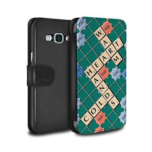 (STUFF4 PU Leather Wallet Flip Case/Cover for Samsung Galaxy J5 2016 / Warm Heart Design/Scrabble Words)
