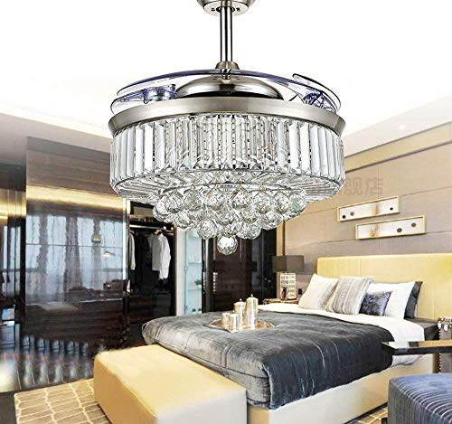 - Lighting Groups 42 Inch Crystal Invisible Ceiling Fan with Light, 4 Retractable Blades Fan Chandelier with Remote Control, LED Ceiling Light Fixtures with Fans Has 3 Colors Changed for Indoor