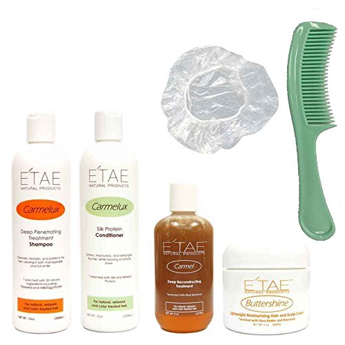 Etae Carmelux Shampoo, Conditioner, E'tae Carmel Treatment, Buttershine Natural Products Combo (4 items) w/ FREE Shower Cap and Comb by E'tae