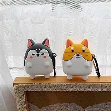 UR Sunshine AirPods Case Super Cute Funny Shiba Inu Husky Dog Shape Soft Silicone Case Cover Protective Skin for Apple AirPods1/&2+Hook-Grey Husky