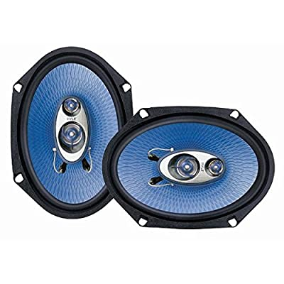 "6"" x 8"" Car Sound Speaker (Pair) - Upgraded Blue Poly Injection Cone 3-Way 360 Watts w/ Non-fatiguing Butyl Rubber Surround 70 - 20Khz Frequency Response 4 Ohm & 1"" ASV Voice Coil - Pyle PL683BL: Car Electronics"