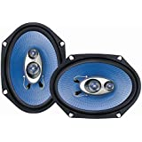 """6"""" x 8"""" Car Sound Speaker (Pair) - Upgraded Blue Poly Injection Cone 3-Way 360 Watts w/ Non-fatiguing Butyl Rubber…"""