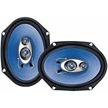 "6"" x 8"" Car Sound Speaker (Pair) - Upgraded Blue Poly Injection Cone 3-Way 360 Watts w/ Non-fatiguing Butyl Rubber Surround 70 - 20Khz Frequency Response 4 Ohm & 1"" ASV Voice Coil - Pyle PL683BL"