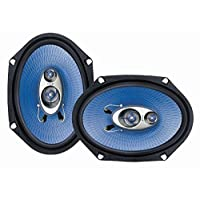 """6"""" x 8"""" Car Sound Speaker (Pair) – Upgraded Blue Poly Injection Cone 3-Way 360 Watts w/ Non-fatiguing Butyl Rubber Surround 70 – 20Khz Frequency Response 4 Ohm & 1″ ASV Voice Coil – Pyle PL683BL"""